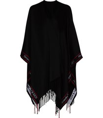 alexander mcqueen selvedge fringed wool cape - black