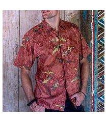 men's cotton batik shirt, 'terracotta birds' (indonesia)