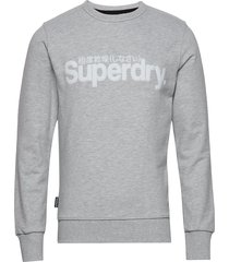 core logo faux suede crew ub sweat-shirt tröja grå superdry