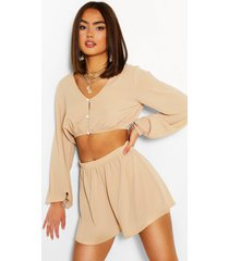 woven button detail blouson top & shorts co-ord, stone