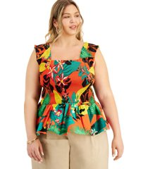 inc international concepts plus size printed smocked-waist peplum top, created for macy's