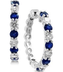 effy sapphire (1-1/3 ct. t.w.) & diamond (3/4 ct. t.w.) hoop earrings in 14k white gold