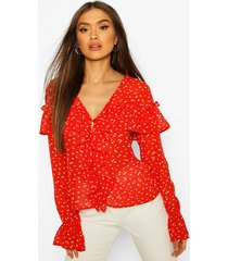 ditsy floral print ruffle blouse, red