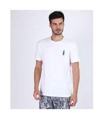 camiseta masculina folha de bananeira manga curta gola careca branca
