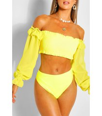 chiffon sleeve bandeau high waist bikini, lemon