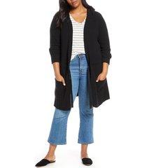 plus size women's caslon hooded cardigan