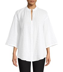 organic cotton voile three-quarter sleeve blouse