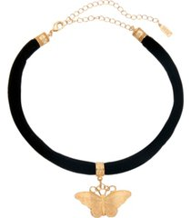 2028 women's black velvet choker with gold tone butterfly pendant necklace