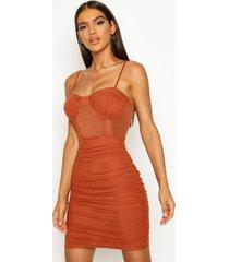 mesh ruched mini dress, rust