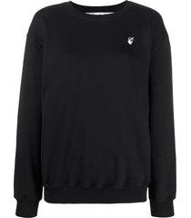 off-white flock arrows logo sweatshirt - black