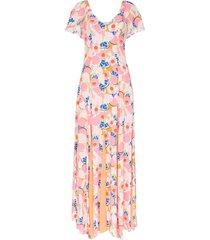 staud peach blossom abstract print crepe maxi dress - abstract peach