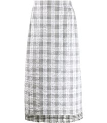 thom browne checked mid-length skirt - white