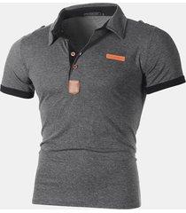 mens business golf camicia patchwork manica corta sottile primavera estate casual in cotone