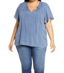 gibsonlook split neck blouse, size 1x in slate blue at nordstrom