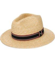 saint laurent stripe detail panama hat - neutrals