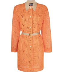 boutique moschino lace belted coat - orange