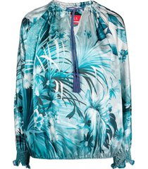 f.r.s for restless sleepers floral print blouse - blue