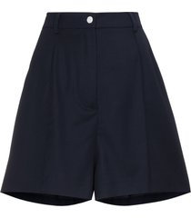 natasha zinko mid rise shorts with pleat front - blue