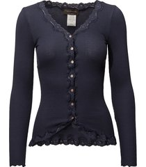 silk cardigan ls w/ lace gebreide trui cardigan blauw rosemunde