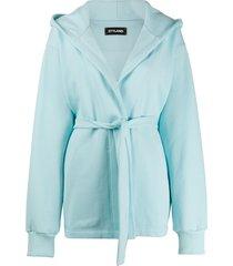 styland belted hoodie jacket - blue