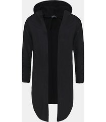 incerun cárdigan de abrigo midi liso de manga larga con capucha informal para hombre