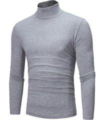 basics hombre casual cómodo alto cuello camiseta lisa de manga larga