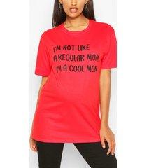 zwangerschap 'not a regular fit mom' t-shirt, rood