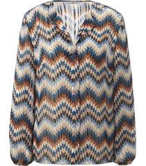 blouseshirt lange mouwen en zigzag-print van peter hahn blauw