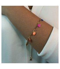 pulseira dourada elo arco e coração resinado colorido