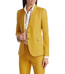 akris punto women's two button stretch satin jacket - sun - size 4