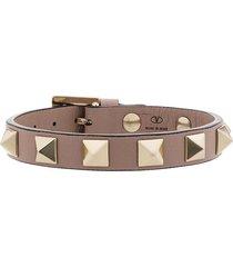 valentino garavani pink rockstud leather bracelet