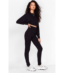 womens let rib be cropped sweater and leggings set - black