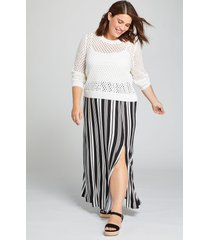 lane bryant women's slitted skirt 10/12 black and white stripe