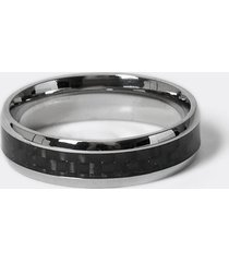 river island mens black checked stainless steel ring