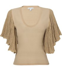 blusa dudalina manga curta decote careca manga plissada feminina (bege medio, g)