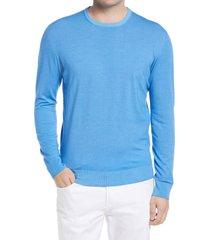 men's big & tall corneliani men's wool crewneck sweater, size 44 us - blue