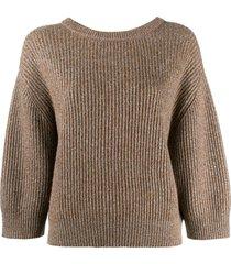 brunello cucinelli lurex knitted sweater - brown