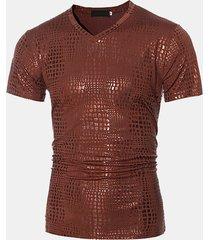 magliette a maniche corte t-shirt da uomo slim fit con stampa a caldo a tinta unita