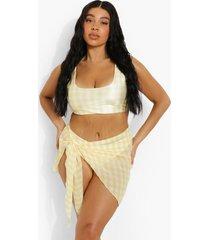plus gingham strand sarong, yellow
