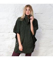 irish aran batwing jacket green medium/large