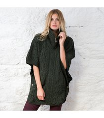 irish aran batwing jacket green medium/large