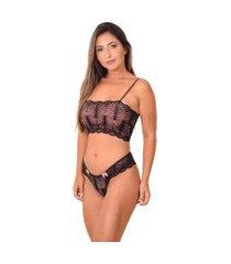 conjunto lingerie top faixa sem bojo - cjsrd010-preto-g preto