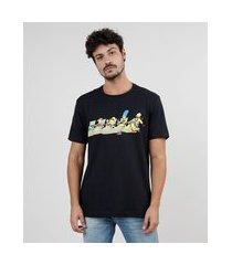 camiseta masculina os simpsons manga curta gola careca preta