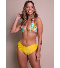 biquãni feminino serra e mar modas calcinha lisa bionda amarelo - amarelo - feminino - poliamida - dafiti