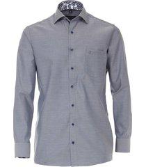 casamoda heren overhemd blauw contrast boord kent comfort fit