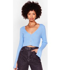 womens sleeve the drama behind ribbed knit cardigan - denim-blue