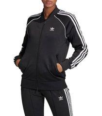 women's adidas originals primeblue sst track jacket, size large - black