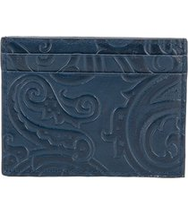 etro paisley print card holder - blue