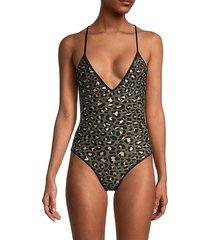 zadig & voltaire women's leopard print one-piece swimsuit - khaki - size 36 (s)