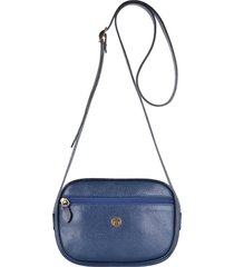 bolsa couro mariart transversal azul marinho